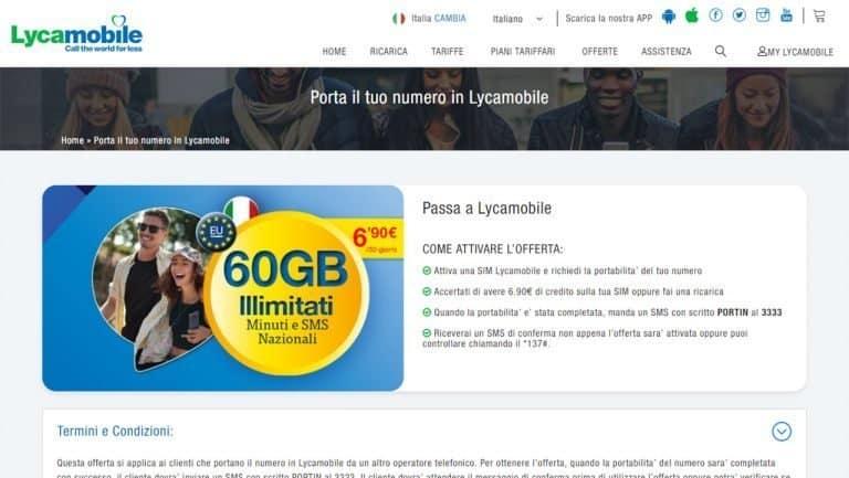 Lycamobile: minuti e sms illimitati a 6,90€