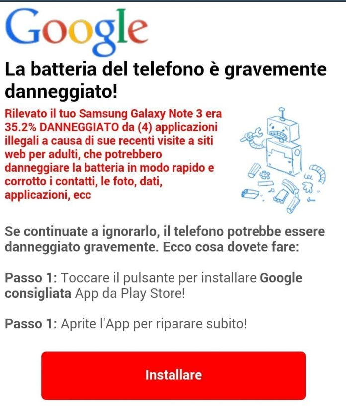Falsi messaggi virus Android