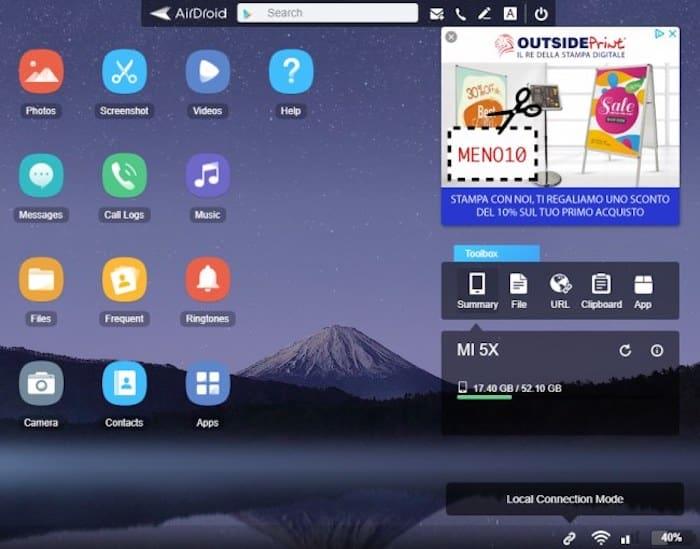 Controllare lo smartphone dal PC con AirDroid