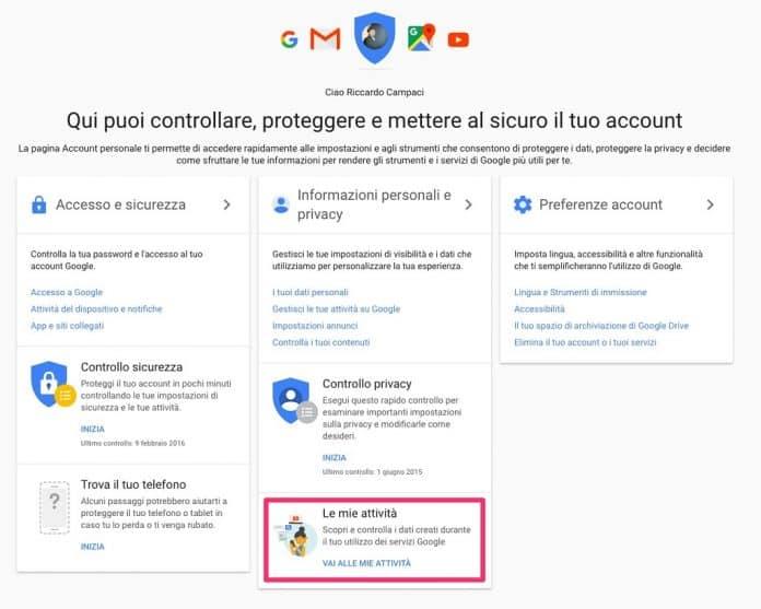 Cancellazione dati Google