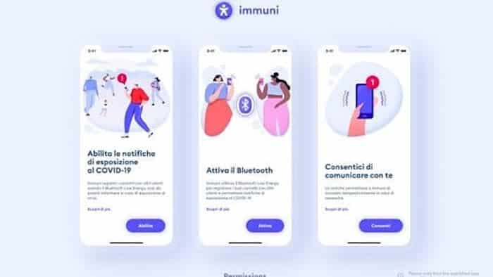 App IMMUNI disponibile al download