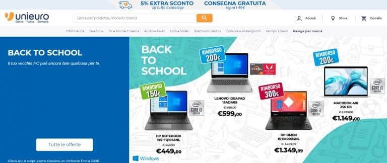 Via al Back to school Unieuro fino al 10 settembre