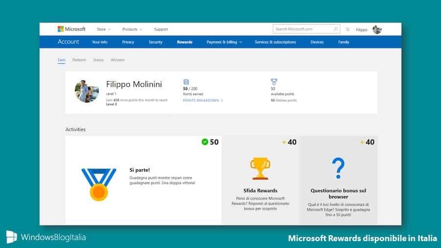 Partecipa al programma fedeltà a punti Microsoft