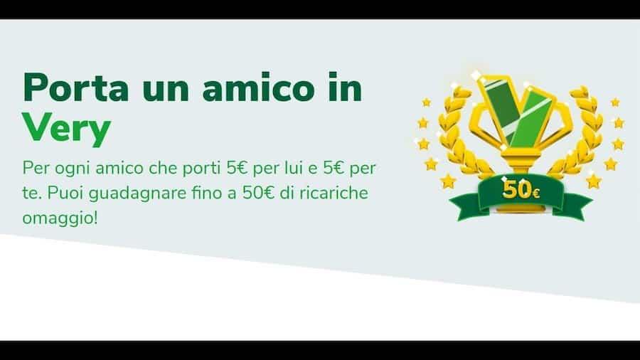 Very Mobile: se porti un amico ricevi 50 euro di ricarica