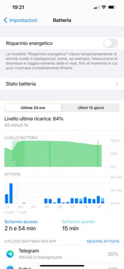 La voce Stato Batteria su iPhone